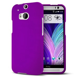 HTC One M8 2014 Hard Shell Case Matte Feather Cover - Purple