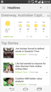 News and Weather Card interface