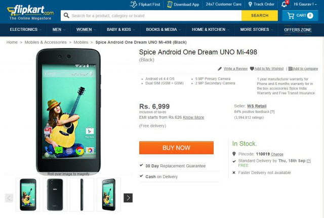 Spice Android One - Flipkart