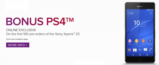 Virgin Mobile XPeria Z3 PS4 Offer