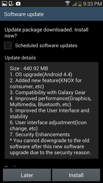 GS4 - Android 4.4 update