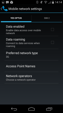 Dual SIM - Network Settings