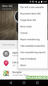 Android Wear Companion Leak - Menu