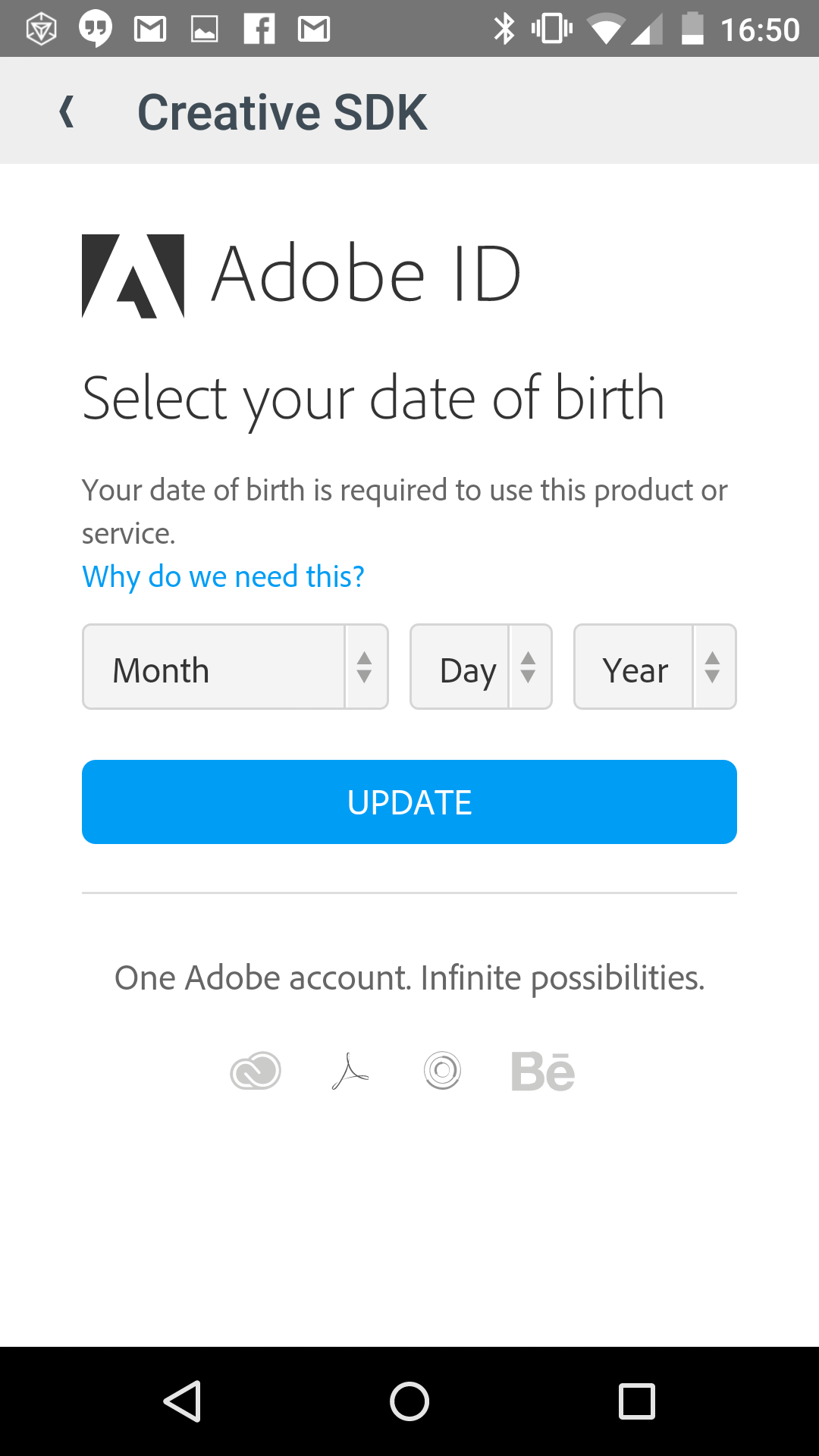 For some reason Adobe wants your date of birth.