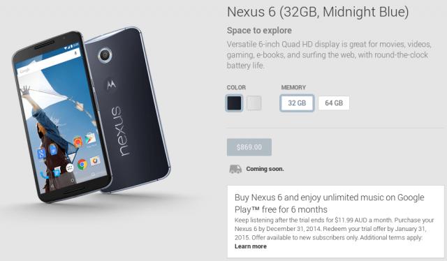 Nexus 6 - Australian GOogle Play