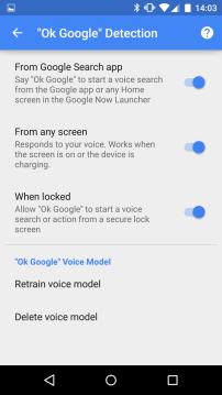 Ok Google Settings