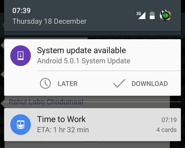 Android 5.0.1 - Nexus 5 on Telstra