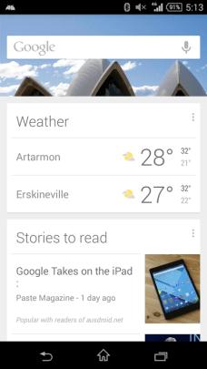 Google Now - Sydney Morning