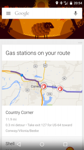 Gas Stations on your Route in Google Now