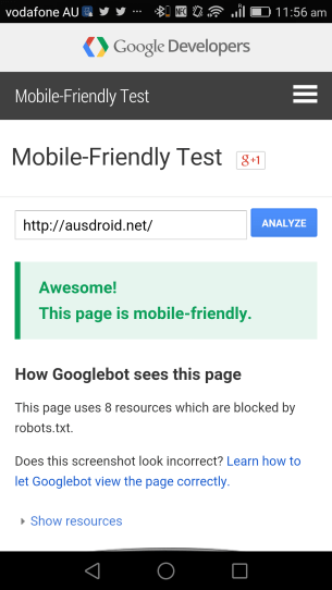 Ausdroid Mobile Friendly