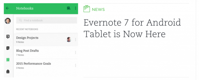 Evernote Material Design for Android Tablets