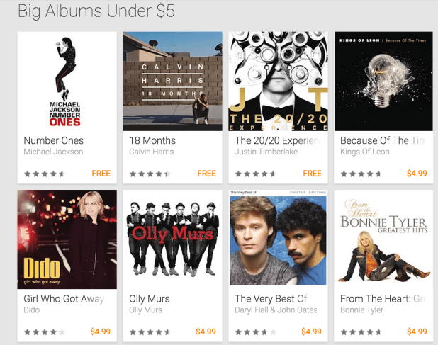 Google Play Music Sale