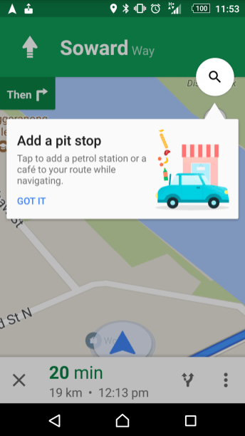 Google Map - New Navigation Pit Stop