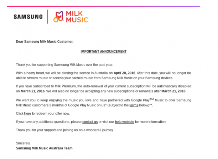 Milk Music shutdown