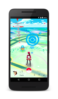Zoomed in view of player with a Squirtle that just appeared