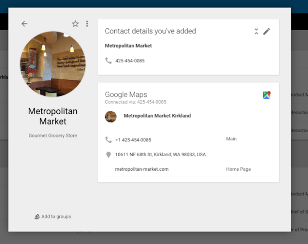 Google Maps in Contacts