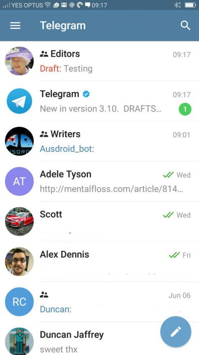 Telegram - Drafts