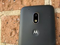 8MP rear camera along with LED Flashlight underneath and the Motorola Bat Wings logo