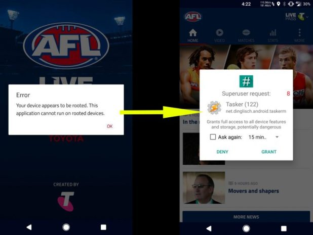 Workaround for rooted Android users wanting to use AFL Live
