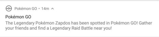 Zapdos Notification