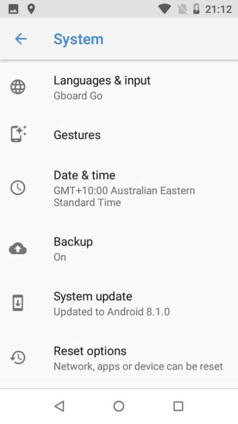 Nokia 1 Settings