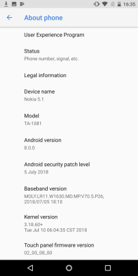 Update showing 5th uly 2018 security update