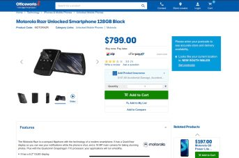 Officeworks website with the Moto RAZR discounted