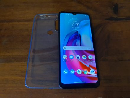 Moto G30 with Clear soft plastic cover
