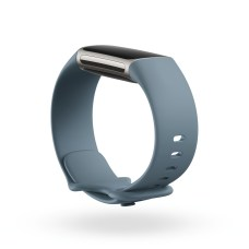 Product render of Fitbit Morgan, dramatic view, in Steel Blue and Platinum.