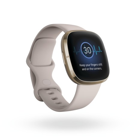 Product render of Fitbit Sense, 3QTR view, in Lunar White and Soft Gold.