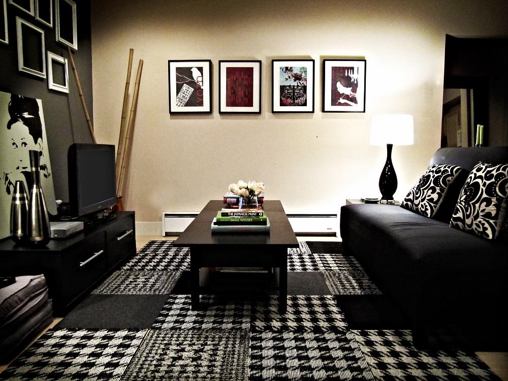Grands tapis design salon gris noir et blanc pas cher 2017 - Tapis salon noir et blanc ...