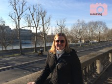 Stopped in the Tuileries for a photo op beside the Seine with the Eiffel Tower in the distance