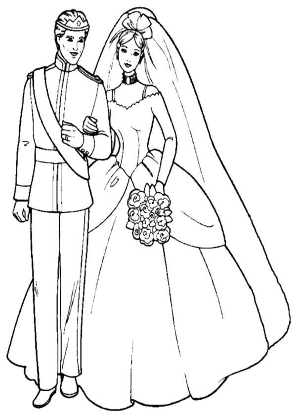 Dibujos para colorear de Barbie Con Kent en la boda  Ausmalbilder