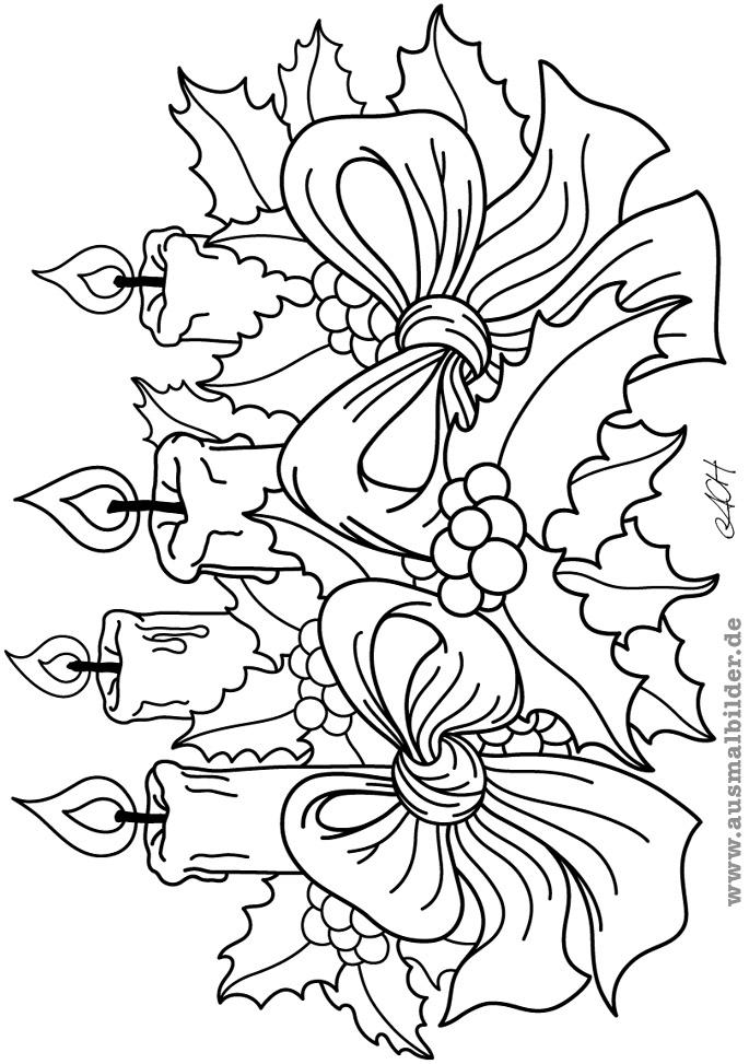√ Malvorlagen Adventskranz advent wreath coloring pages