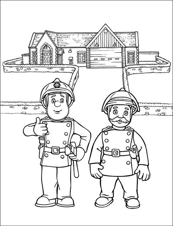 Ausmalbilder kostenlos Feuerwehrmann Sam 2 Ausmalbilder