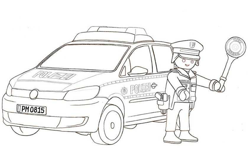Playmobil Malvorlage Polizei - Kinder zeichnen und ausmalen