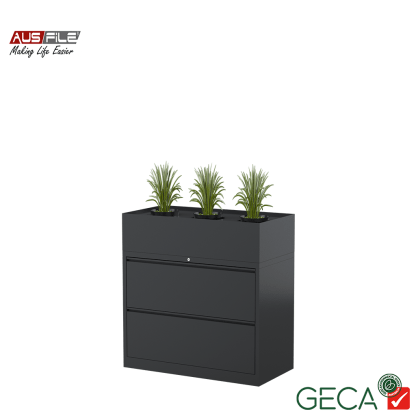 Ausfile 2 Drawer Lateral Filing Cabinet Graphite with Planter Box Ausfile and GECA badges