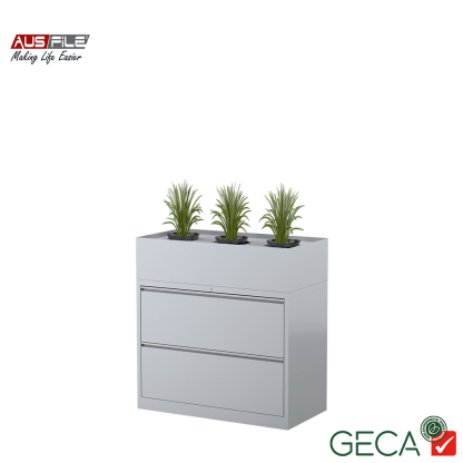 Ausfile 2 Drawer Lateral Filing Cabinet Silver with Planter Box Ausfile and GECA badges