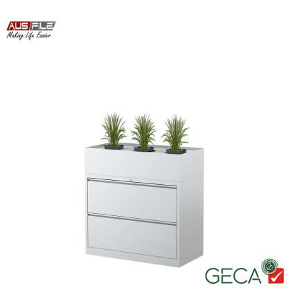 Ausfile 2 Drawer Lateral Filing Cabinet White with Planter Box Ausfile and GECA badges