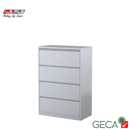 Ausfile 4 Drawer Lateral Filing Cabinet Silver with Ausfile and GECA badges