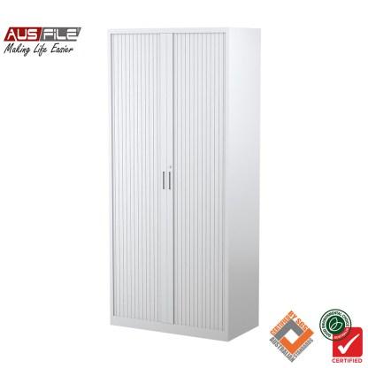 Ausfile tambour door cabinets white 1980mm H x 900mm W