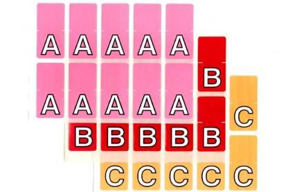 Top tab colour alphabet labels sheets