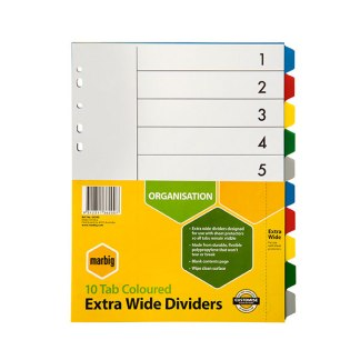 Marbig 36200 A4 10 Tab Extra wide dividers