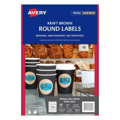 avery 980002 L7106 round kraft labels 180 pack laser inkjet