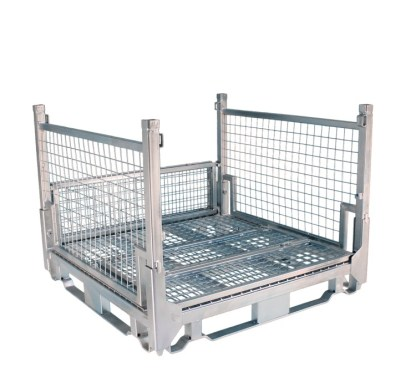 Pallet Cage Type A Single Medium Mesh Floor Zinc Plated one full side down one half side down