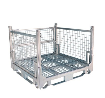 Pallet Cage Type A Single Medium Mesh Floor Zinc Plated one side removed