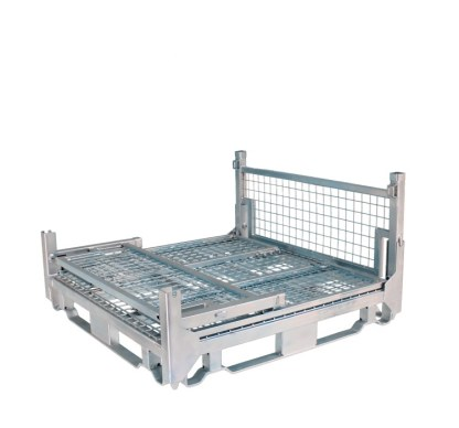 Pallet Cage Type A Single Mesh Floor Zinc Plated 3 sides folded down