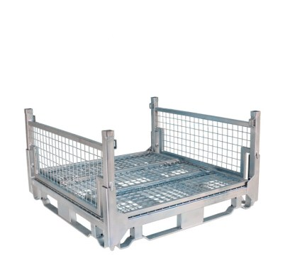Pallet Cage Type A Single Mesh Floor Zinc Plated two sides folded down