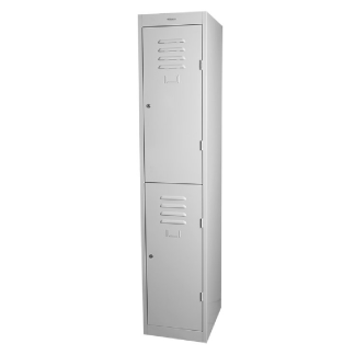 SteelCo Locker 2 Door 305mm Wide Silver Grey Closed