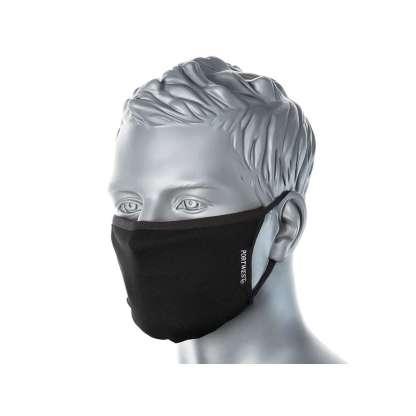 black anti micro face mask in situ front quarter